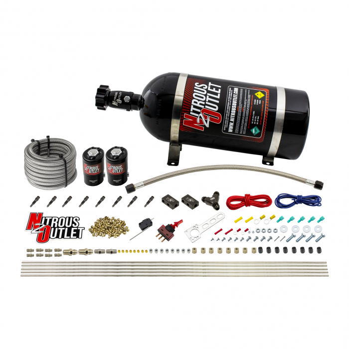 8 Cylinder Dry Direct Port System - .122 Nitrous - Straight Blow Through Nozzles
