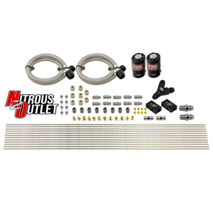 "Dry 8 Cylinder Solenoid Forward Direct Port Conversion Kit - .122"" Orifice - Distribution Blocks - Compression Fittings"