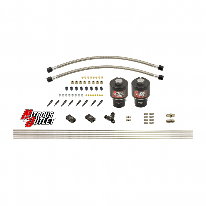 """Dry 8 Cylinder 2 Solenoid Forward Direct Port Conversion Kit - .178"""" Orifice - Straight Blow Through Nozzles"""