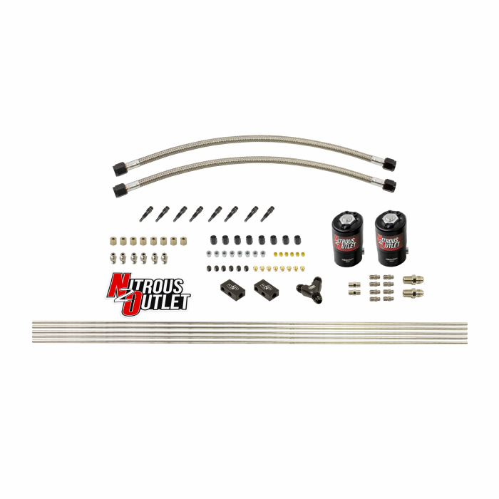 """Dry 8 Cylinder 2 Solenoid Forward Direct Port Conversion Kit - .122"""" Orifice - Straight Blow Through Nozzles"""