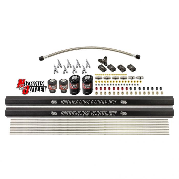 8 Cylinder Solenoids Forward Direct Port Conversion Kit - Straight Blow Through Nozzles - .122 Nitrous/.177 Fuel - 7 PSI
