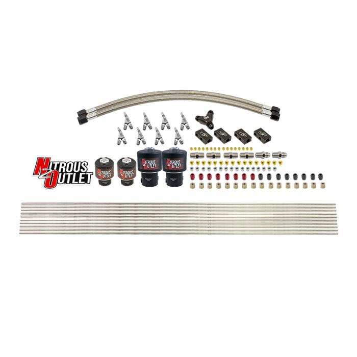 8 Cylinder Solenoids Forward Direct Port Conversion Kit - Straight Blow Through Nozzles - .112 Nitrous/.177 Fuel - 7 PSI