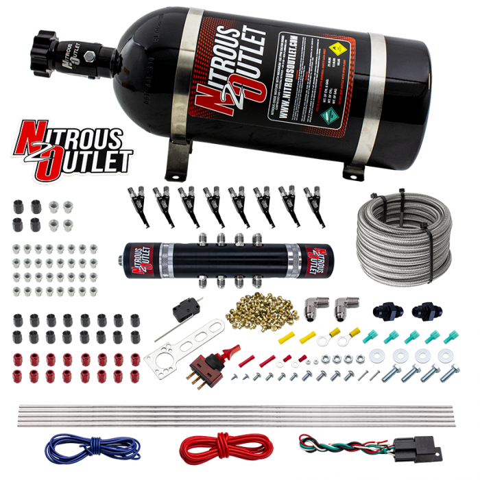 8 Cylinder Black Widow Direct Port System - E85 - .122 Nitrous Solenoid/.310 Fuel Solenoid Solenoid - 90° Discharge Nozzle