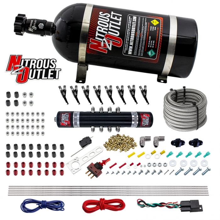 8 Cylinder Black Widow Direct Port System - E85 - .122 Nitrous Solenoid/.310 Fuel Solenoid Solenoid - 5,7,10psi - 90° Discharge Nozzle