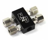 Compact Billet 2 in 4 Out Distribution Block With Compression Fittings - Image 1