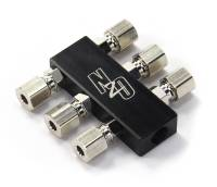 Compact Billet 1 in 6 Out Distribution Block With Compression Fittings