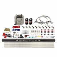 """10 Cylinder Wet Direct Port System With Single Injection Rail - Alcohol - .122"""" Nitrous/.310"""" Fuel - 90° Aluminum Nozzles"""