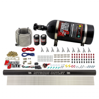 """10 Cylinder Wet Direct Port System With Single Injection Rail - Gas - .122"""" Nitrous/.310"""" Fuel - Straight Blow Through Aluminum Nozzles"""