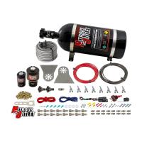 "8 Cylinder Nylon Hose Direct Port Wet Nitrous System - Showerhead Distribution Blocks - .178"" Nitrous/.310"" Fuel - Straight Blow Through Aluminum Nozzles"