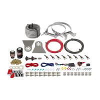 "8 Cylinder Nylon Hose Direct Port Wet Nitrous System - Showerhead Distribution Blocks - .122"" Nitrous/.177"" Fuel - 45-55 PSI - 90° Aluminum Nozzles"