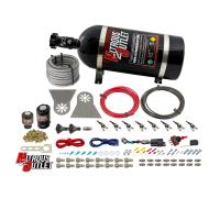 "8 Cylinder Nylon Hose Direct Port Wet Nitrous System - Showerhead Distribution Blocks - .112"" Nitrous/.177"" Fuel - 45-55 PSI - 90° Aluminum Nozzles"