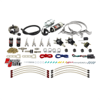 Powersports Carbureted Four Cylinder Nozzle System - .078 Nitrous/.155 Fuel - 90° Stainless Steel Nozzles
